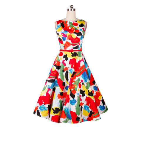 0222-1950s pinup retro vintage rockabilly Audrey Hepburn boat neck dress in colorful blocks plus size UK8-24