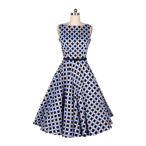 0226-1950s pinup retro vintage rockabilly Audrey Hepburn boat / slash neck dress in black&blue dots plus size UK8-24