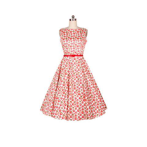 0221-1950s pinup retro vintage rockabilly Audrey Hepburn boat neck dress in small strawberry flora  plus size UK8-24