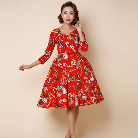 0273-1950s pinup retro Audrey Hepburn vintage rockabilly women's fashion sleeve swing dress in red western lady