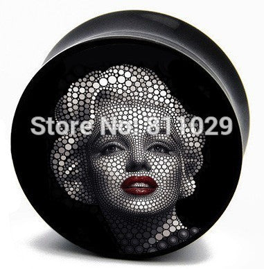 CLEARANCE - MODSQUID STOCK: wholesale new arrive free shipping 100pcs mixed 10 gauges Marilyn Monroe women UV acrylic saddle ear plug