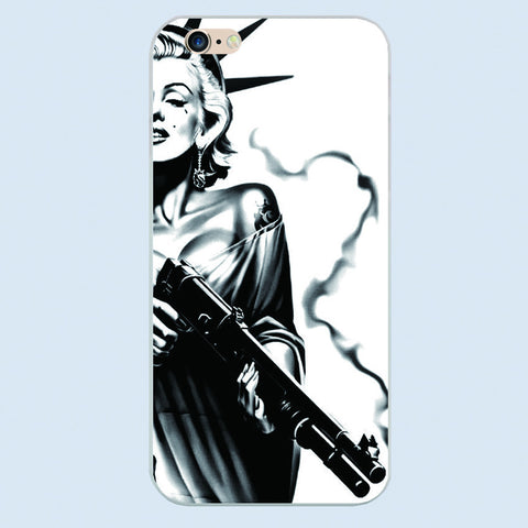 CLEARANCE - MODSQUID STOCK: Stylish Marilyn Monroe Keep Smiling Bubble Gum Protective Hard White cover phone case For Apple iphone 6 6s plus 5 5c 5s 4 4s