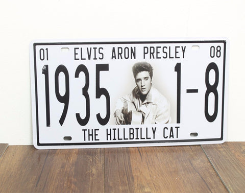 CLEARANCE - MODSQUID STOCK: ElvIs Aron Presley 1935 1-8 The Hillbilly Cat  Vintage License Plate Retro Metal Sign Shabby Chic Tin Signs Home Pub Bar Decor