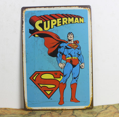 CLEARANCE - MODSQUID STOCK: Wow Superman Comic Poster Vintage Home Decor Wall Sticker Decor Iron Retro Tin Metal Signs Plaques Living Room Bedroom