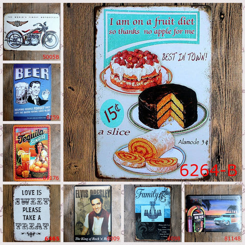 CLEARANCE - 20*30cm Metal Tin Sign Elvis motorcycle dessert wine Retro vintage Classic Tin Bar pub home Wall Decor Retro Tin Poster