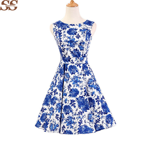 2016 Women elegant white blue o-neck vintage pinup retro rockabilly Audrey Hepburn  style 50s  vestidos  sexy party swing dress