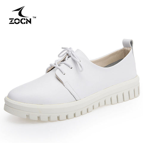 CLEARANCE - MODSQUID STOCK: ZOCN 2016 Women Genuine Leather Shoes Woman Flats Casual Shoes Lace-Up Oxford Shoes For Women Soft And Breathable Zapatos Mujer