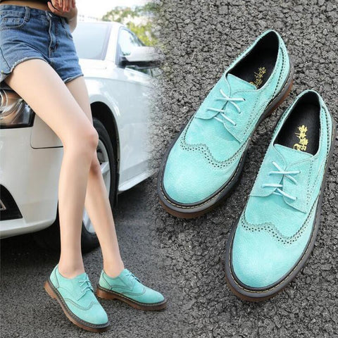 CLEARANCE - MODSQUID STOCK: {D&H}Size34-43 Brogue Oxford Shoes Women 2016 Spring/Autumn Nubuck Leather Oxford Shoes Flats Shoes Woman Moccasins Ladies Shoes