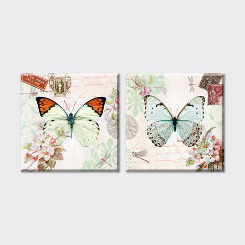 2 Piece 2015 new Cheap flowers and butterfly Canvas art Prints oil Painting wall pictures Vintage Home Decor for living room