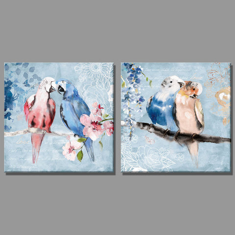 2 Piece blue Two parrots on a branch flower oil painting Home Decor Wall Painting Paintings for living room sitting room