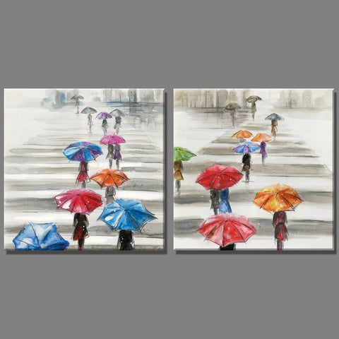 2 Piece colourful Umbrella people walking on the sidewalk city Scenery oil painting Home Decor Wall Painting for living room