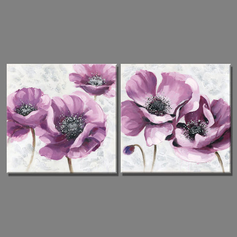 2 Piece beautiful Purple flowers pictures oil painting on the wall Canvas art Paintings Home Decoracion for living room