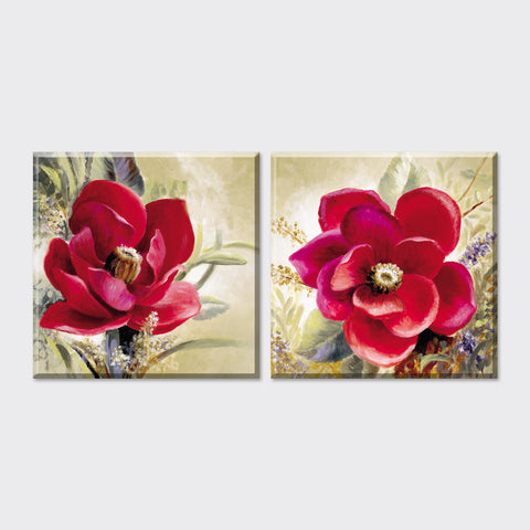 2 piece American style flowers oil painting canvas art on the wall  decoration pictures Vintage home decor for living room