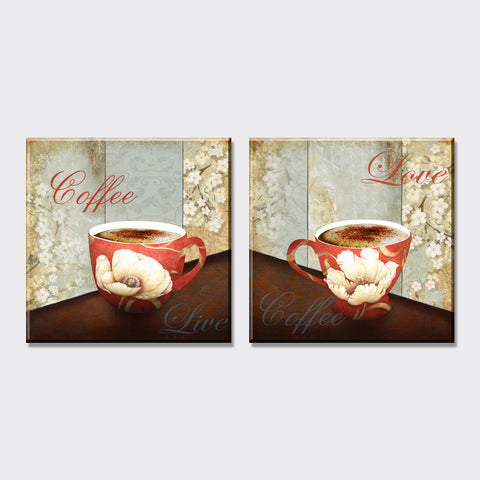 2 piece american style flowers coffee oil painting canvas art painting on the wall for home decor wall pictures for living room