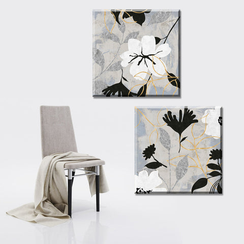 2 piece 2015 oil painting white flowers wall pictures canvas art print canvas painting Vintage home Decor  for living room