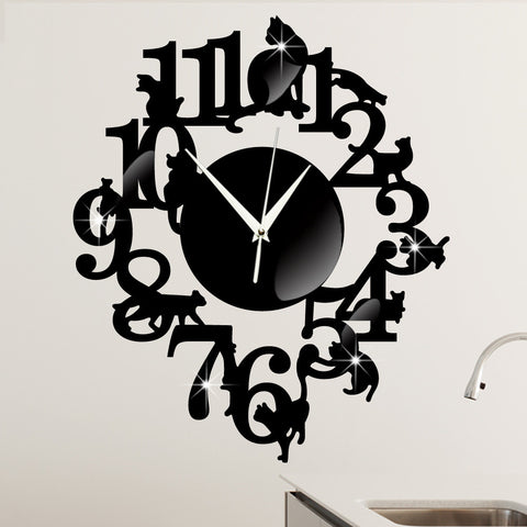 #s Originality  black cat  Wall clock  A living room  decorate  Wall clock  Cartoon  The clock on the wall  Cat on the shelf