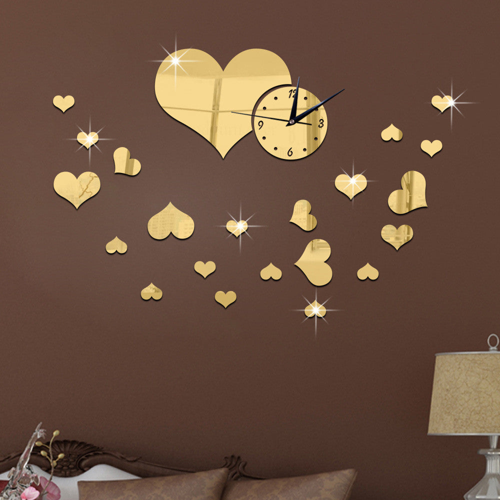 S Love Heart Wall Clock Fashion Creative Clock Clock And Mirror Wall