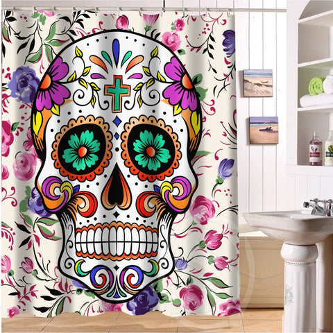 CLEARANCE - MODSQUID STOCK: YOOSEE!! Floral Sugar Skulls Make Up Looks Personalized Custom Shower Curtain Bath Curtain Waterproof MORE SIZES GOOD GIFT!!
