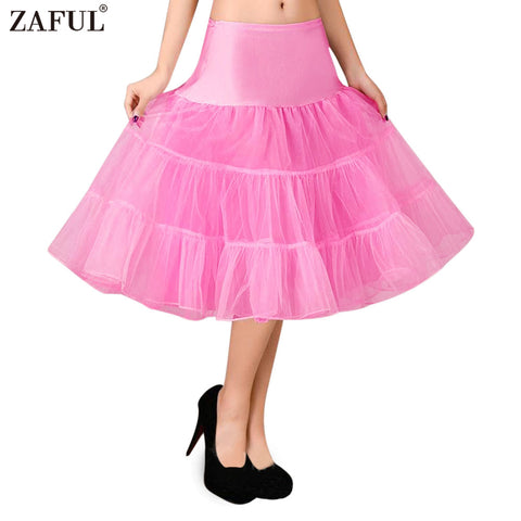 ZAFUL Petticoat Skirt Retro Boneless Body wedding Gauze Women 5 Solid Colors Tutu Puff Skirt Vintage Petticoat Swing Ball-gown
