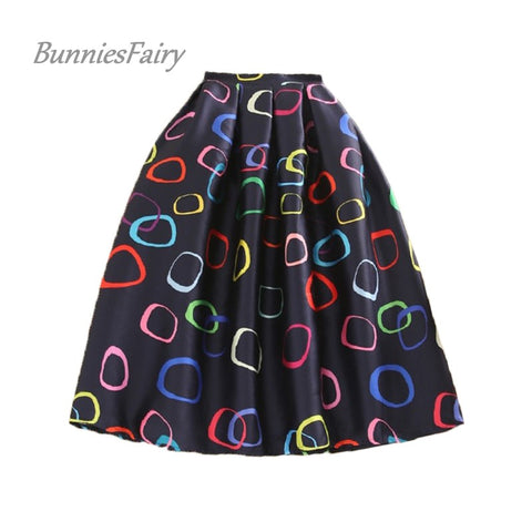 BunniesFairy Brand New Women Fashion Skirts Candy Color Donut Geometric Print High Waist Pleated Skater Flared Skirt Casual Wear
