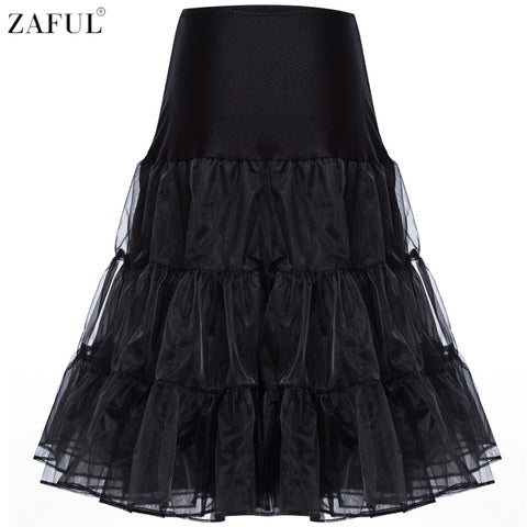 ZAFUL Brand Women Vintage Skirts Ball Gown Organza Skirts Solid Color Skirts Party Petticoat Skirts High Waist Big Swing Skirts