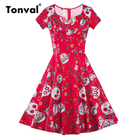 Tonval Short Sleeve Skull Print Vintage Dress Women V Neck Elegant Halloween Party Sexy Dresses Red Tunic Summer Dress