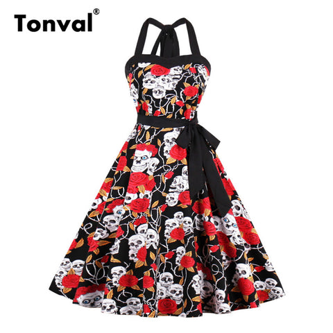 Tonval Vintage Sexy Halter Halloween Party Dresses for Women Skull and Floral Dress Print Ball Gown Plus Size Dress