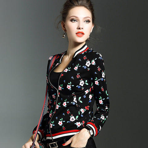 Soperwillton 2017 New Floral Bomber Jacket Coats Ladies Basic Jackets Autumn Spring Fashion Jacket Women Outwear&Coat #BJ0703