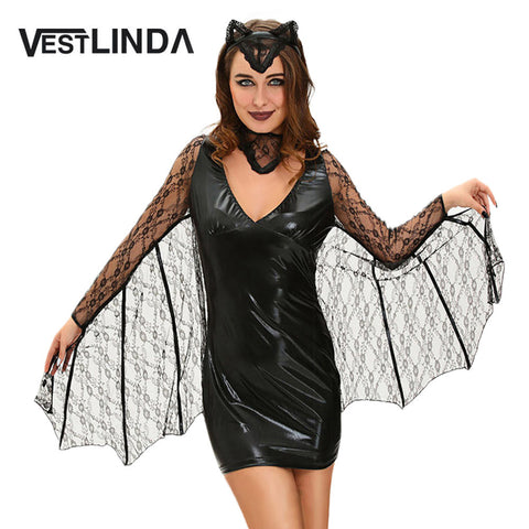 VESTLINDA Bat Cosplay Suit Long Sleeve Black Faux Leather Sheath Bodycon Dress Halloween Costume Women Sexy Club Party Dresses