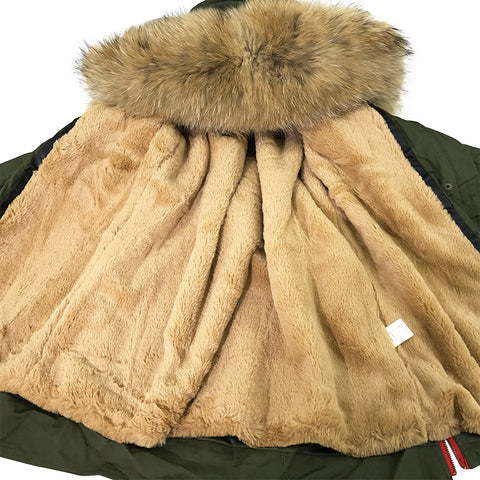 Soperwillton New 2017 Winter Coats Women Jackets High Qualit Luxury Real Raccoon Fur Collar Thick Ladies Army Green Parkas #A006