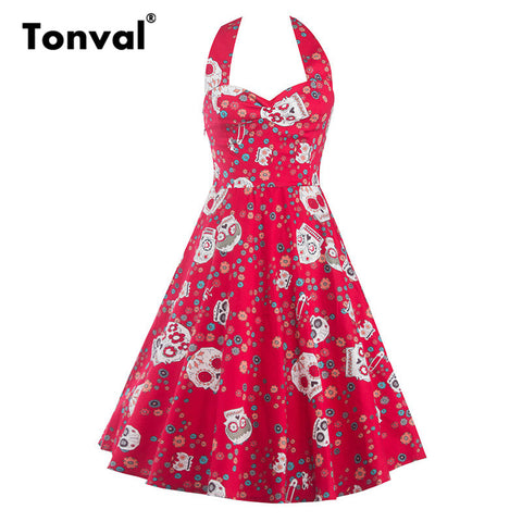 Tonval Women Floral and Skull Vintage Sexy Halter Dress Backless Elegant Evening Party Halloween Swing Dresses