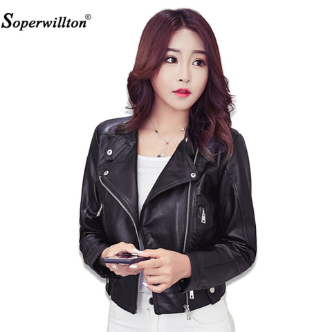 Soperwillton 2017 Brand PU Leather Jacket Women Winter And Autumn New Fashion Zipper Outerwear jacket New 2017 Coat HOT #A987