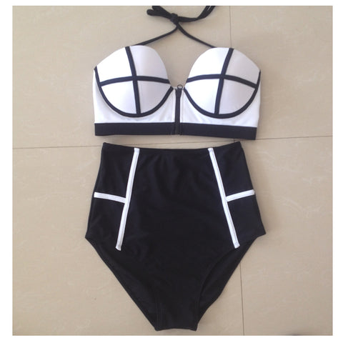2015 New Arrival Women Bathing Suit Summer Candy Color Bikini Set High Quality Vintage High Waist Swimsuit