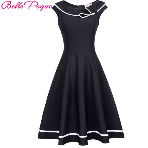 Belle Poque Vintage Dress 50s Nautical Summer 2017 Black Pin Up Short Sleeve Lapel Women Sailor Collar Bow Party Elegant Dresses
