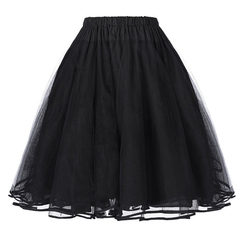 Belle Poque Fashion Colorful Women Retro Underskirts Solid Vintage 3 Layers Tulle Netting Crinoline Skirt Ball Gown Petticoat