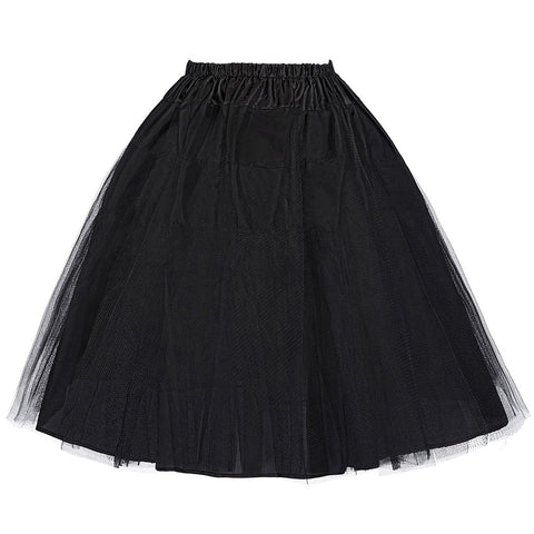 Belle Poque Colorful Casual Retro Petticoat Skirt Women Mid Vintage Crinoline Femme Saias 50s Party Prom Two Layers Underskirts