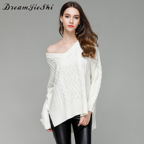 Dreamjieshi Women Autumn winter V Neck collar Knitting sweater 2017 Loose wool Knit sweater Coat Primer shirt female pullovers