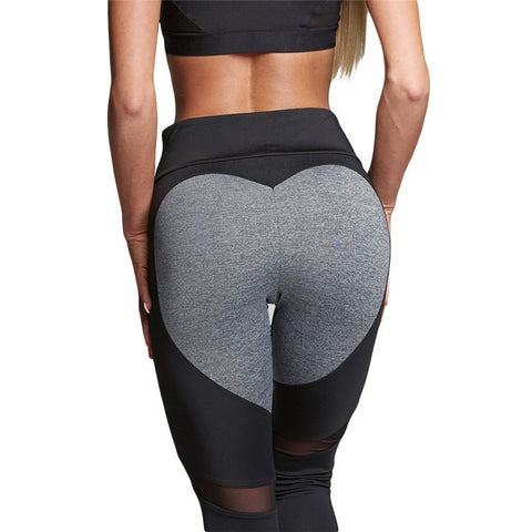 Slim Fit Heart Women Running Sport Pants Marathon Leggings Compression Fitness Tights Pants Drop Shipping