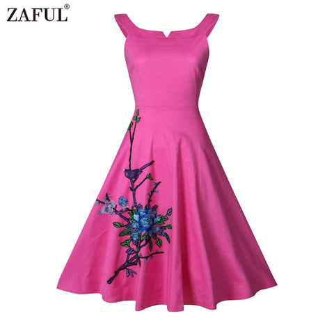 ZAFUL Women Summer Embroidery 60s Vintage Dress Elegant Ball Gown Plus Size Party Dress Vestidos Rockabilly Dress with Petticoat
