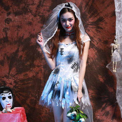 Halloween Dress Female Zombies Ghost Bride White Ink Dress Women Lolita French Costume Gothic Anime Movie Cosplay Party Dress