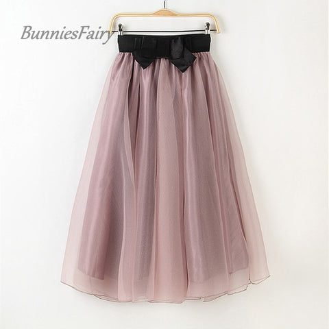 BunniesFairy 2016 Autumn Female High Waist Flared Tutu Tulle Skirts Petticoat Elastic Waist Ball Gown with Bow Faldas Saia Jupe