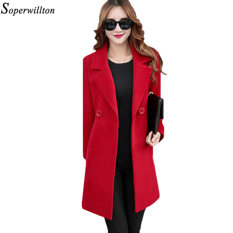 Soperwillton 2017 Autumn Winter Women Coats Double Breasted Button Wool Long Coats Womens Wool jacket Ladies Solid Coats #MK210