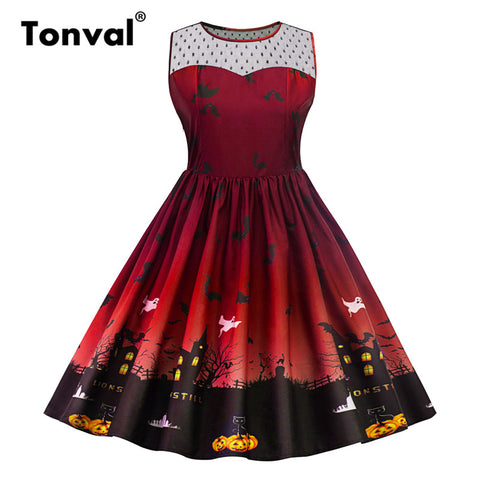 Tonval Vintage Style Halloween Party Dress Pumpkin Print Mesh Pleated Dresses Women 5XL Plus Size Dress