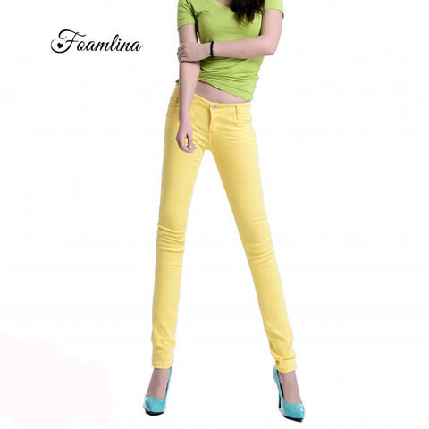 Foamlina Brand Summer Women Long Pants Capris Fashion Candy Color Slimming Capris Trousers Cotton Skinny Pencil Pants for Women