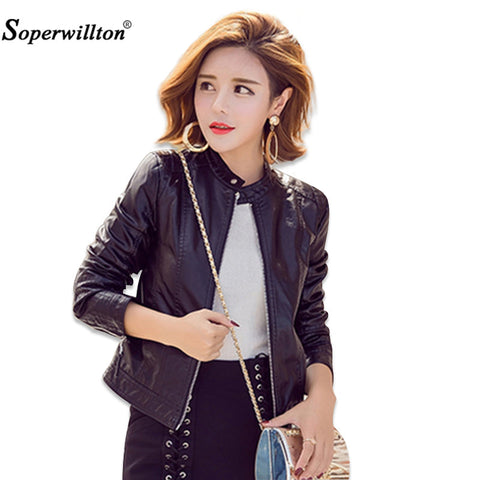 Soperwillton Faux Soft Leather Jackets 2017 New Autumn Winter Women PU Black motorcycle Blazer Zippers Coat Outerwear Tops #A992