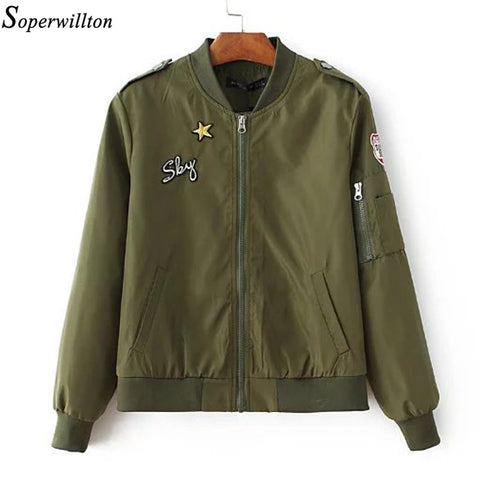 Soperwillton 2017 Army Green Bomber Jacket Autumn Embroidery Slim Fit Basic Jackets Fashion Casual Women Jacket & Coats  #BJ0730