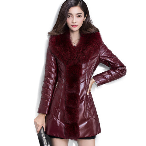 Soperwillton 2017 New Large Fur Hooded Winter Coats Women Fake Fur Trim Parka Jackets PU Coats Faux Mink Fur Ladies Parkas  #B3