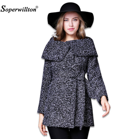 Soperwillton Women's Autumn Winter Jackets and Coats Single Button Elegant Warm Women Woolen Coat 2017 New Outerwear Coat #A998