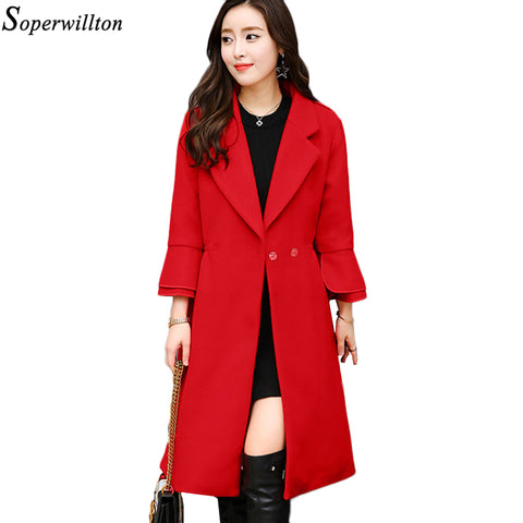 Soperwillton 2017 Autumn Winter Women Coats Wool Long Coats Womens Wool jacket Ladies Solid Coats 4XL#MK214