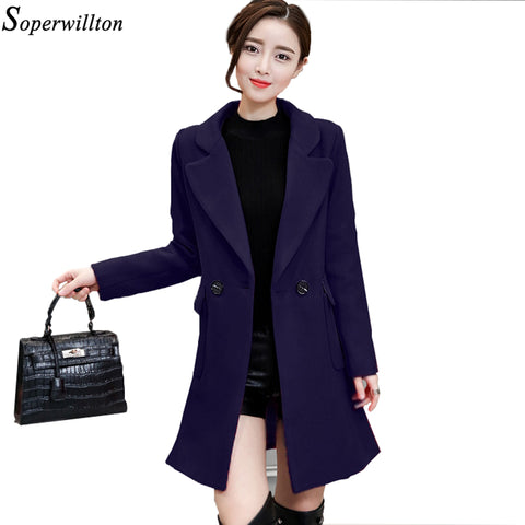 Soperwillton 2017 Autumn Winter Women Coats Double Breasted Button Wool Long Coats Womens Wool jacket Ladies Solid Coats #MK215